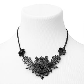 Black Filigree Flower Statement Necklace,