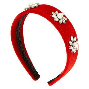 Velvet Stone Headband - Red,