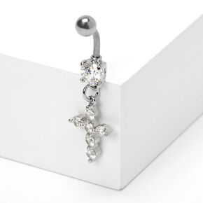 Silver 14G Crystal Cross Belly Ring,