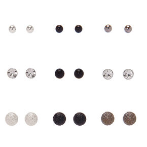 Mixed Metal Stud Earrings - 9 Pack,