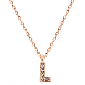 "Rose Gold Studded ""L"" Initial Necklace,"