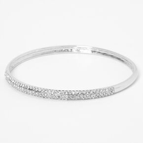 Silver Pave Rhinestone Bangle Bracelet,
