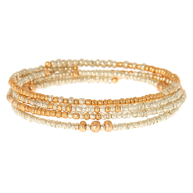 4 Pack Gold And Silver Beaded Statement Bracelets,