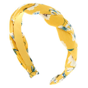 Floral Twisted Headband - Yellow,