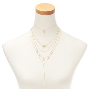 Assorted Charm Multi Strand Necklace Set - 2 Pack,