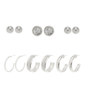 6 Pack Half Hoops & Studs Earrings Set,