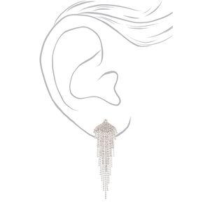"""Silver Rhinestone 3"""" Fanned Fringe Drop Earrings,"""