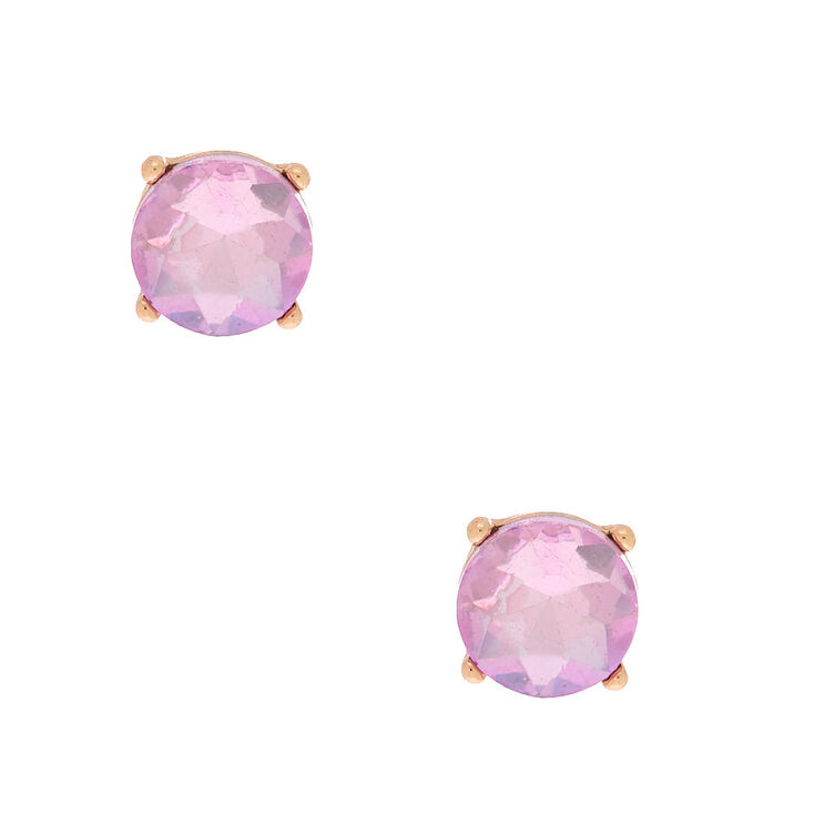 Gold 10MM Round Stone Stud Earrings - Pink,