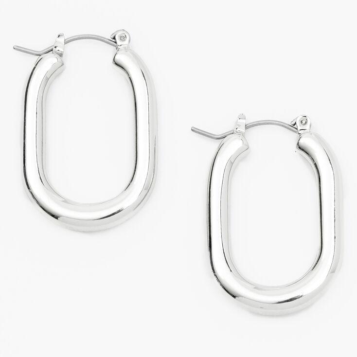 Silver 30MM Squared Oval Hoop Earrings,