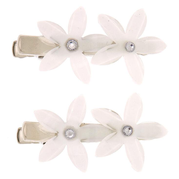 Glitter Crystal Flower Hair Clips - Ivory, 2 Pack,
