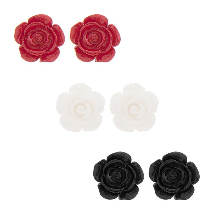 Red, White & Black Carved Rose Stud Earrings Set of 3,