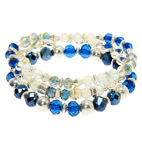 Silver Bead Stretch Bracelets - Blue, 3 Pack,