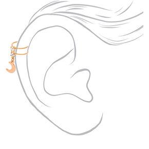 Gold Crystal Moon Charm Ear Cuff,