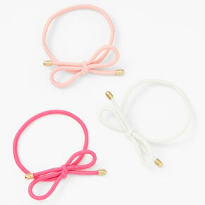 Tie the Knot Hair Tie Bracelets - Pink and White, 3 Pack,