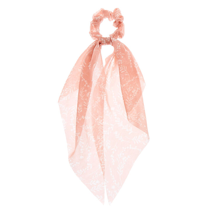 Floral Tree Branch Scarf Hair Scrunchie - Blush Pink,