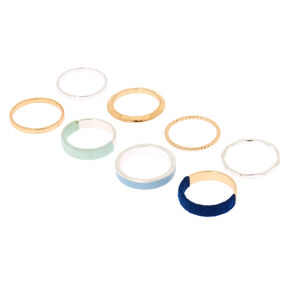 Mixed Metal Thread Wrapped Rings - Blue, 8 Pack,