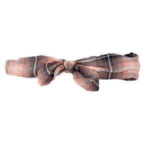 Plaid Knot Headwrap - Blush,