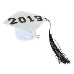 2019 Mini Graduation Cap Hair Clip - White,