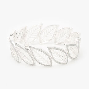 Silver Filigree Leaf Stretch Bracelet,