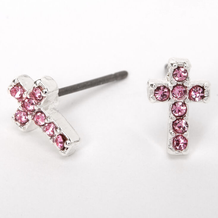 Silver Embellished Cross Stud Earrings - Pink,