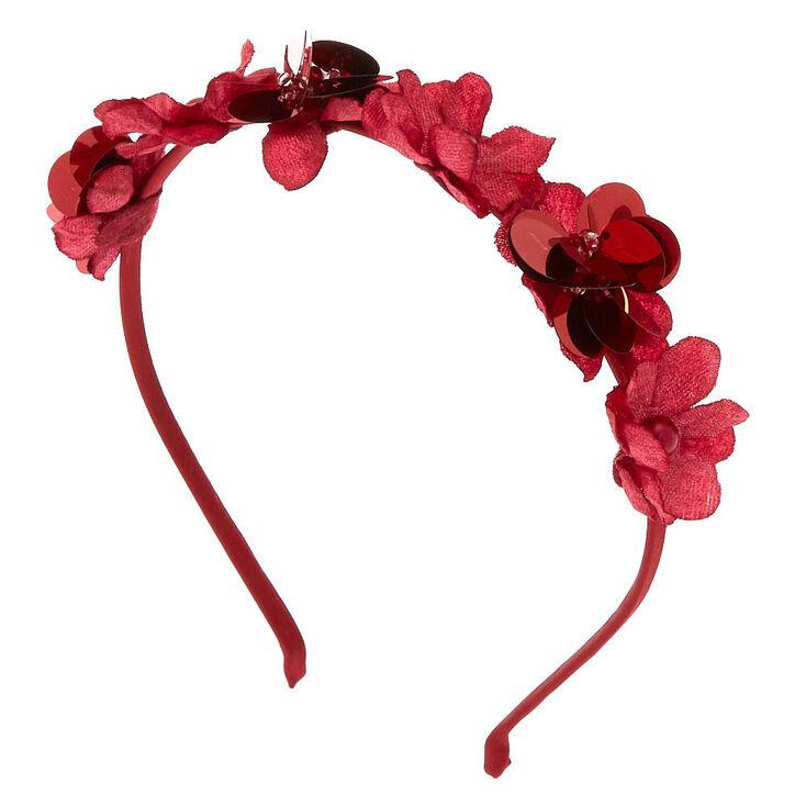 Sequin Flower Headband - Burgundy,