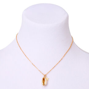 Gold Cowrie Shell Pendant Necklace,