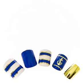 Gold & Navy Nautical Instant Nails,