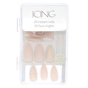 Bling Stiletto False Nails - Nude , 24 Pack,