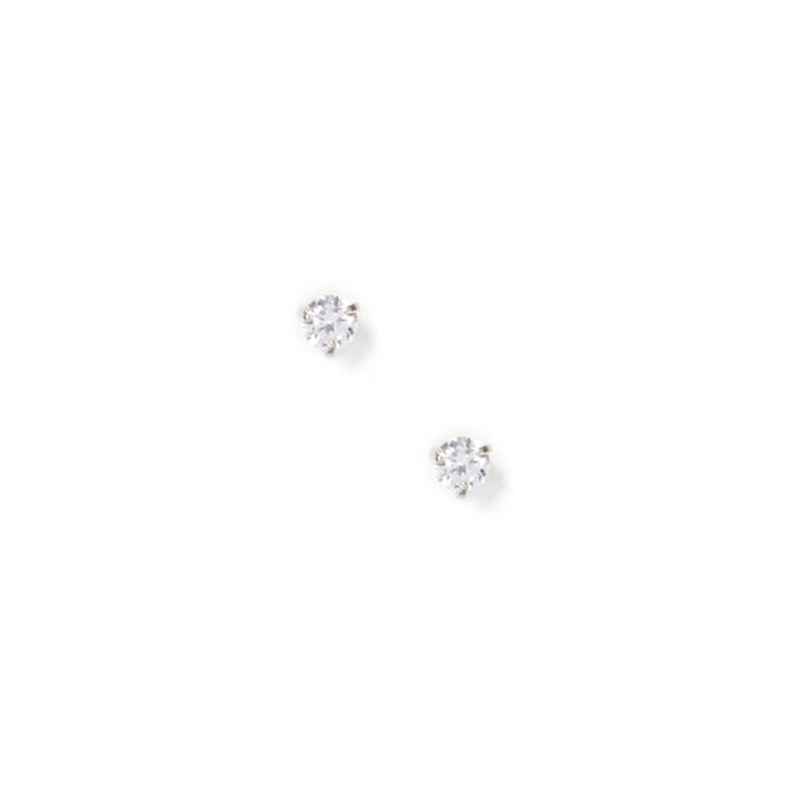 4MM Cubic Zirconia Round Martini Set Stud Earrings,