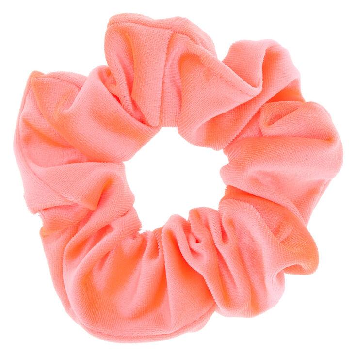 Velvet Hair Scrunchie - Neon Pink,