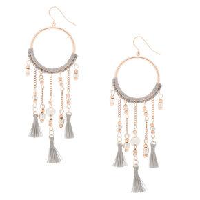 "Rose Gold 3.5"" Ring Beaded Tassel Drop Earrings - Gray,"