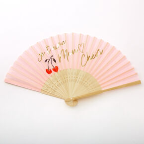 Je T'aime Mon Cheri Cherries Folding Fan - Pink,