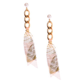 "Gold 3.5"" Chain & Ribbon Drop Earrings,"