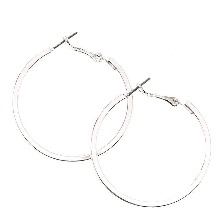 40MM Silver Tone Square Edge Hoop Earrings,