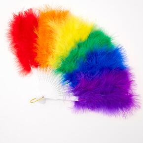 Rainbow Feather Folding Fan,