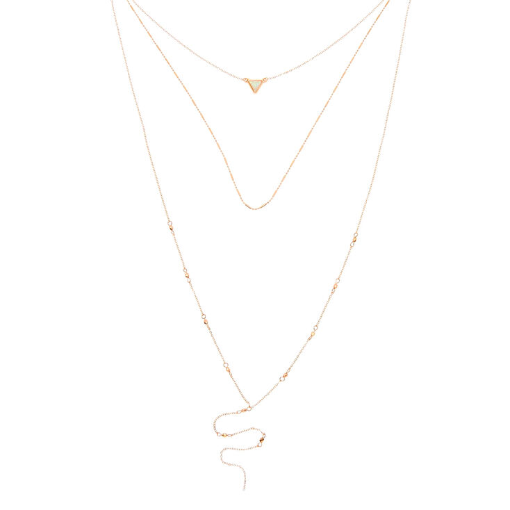 Rose Gold Holographic Stone Multi Strand Necklace,