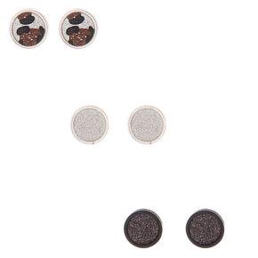 Silver Button Leopard Stud Earrings - 3 Pack,