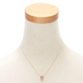 Rose Gold Cursive Initial Pendant Necklace - O,