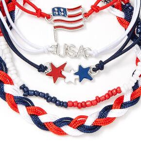 USA Patriotic Mixed Bracelets - 5 Pack,