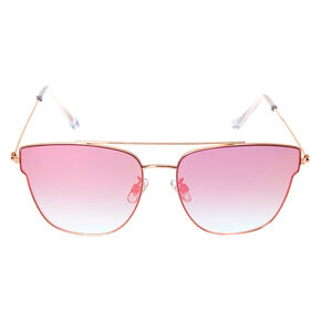 Rose Gold-Tone Pink Mirrored Aviator Sunglasses,