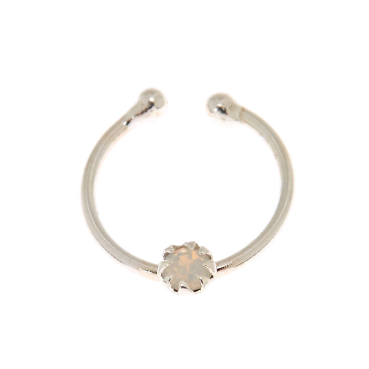Sterling Silver Opal Stone Faux Hoop Nose Ring,
