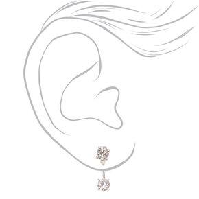 Double Cubic Zirconia Front & Back Drop Earrings,