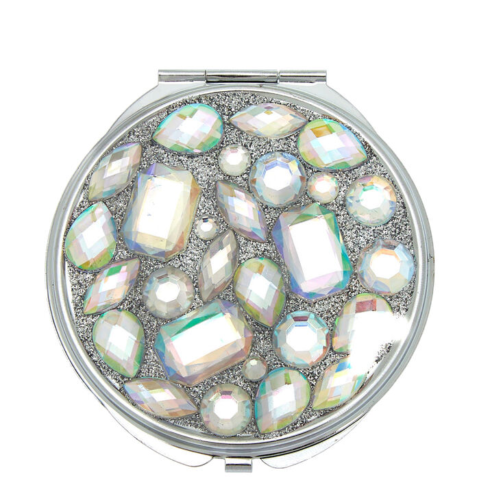 Glitter Large Gem Compact Mirror - Silver,