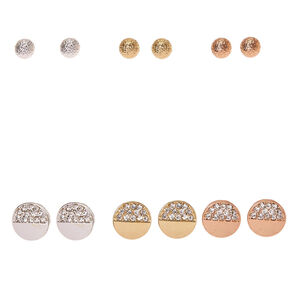 Mixed Metal Sandblasted Ball & Half Crystal Circle Stud Earrings,