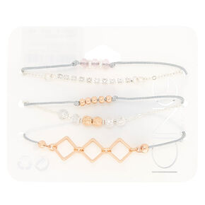 Rose Gold Statement Bracelets - 5 Pack,