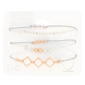 Rose Gold Bead Chain Bracelets - 5 Pack,
