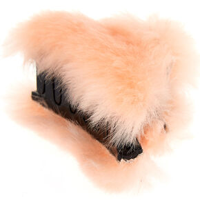 Faux Fur Hair Claw - Pale Pink,