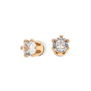 Gold Cubic Zirconia 3MM Round Magnetic Stud Earrings,