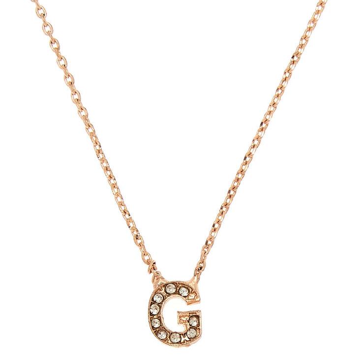 Rose Gold Embellished Initial Pendant Necklace - G,