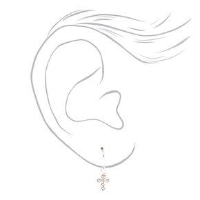 Sterling Silver Crystal Cross Drop Earrings,